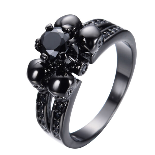 JUNXIN Gothic Skull Black Sapphire Wedding Band Ring Black Gold Filled Size 5-12