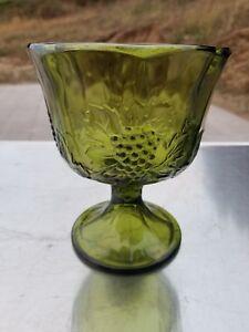 EXCELLENT-VINTAGE-HARVEST-GREEN-PEDESTAL-BOWL-CANDY-DISH-GOBLET-GLASS-GRAPES