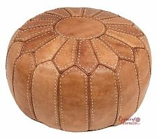 Moroccan Pouf Ottoman COVER Genuine Leather Hand-stitched Natural Tan