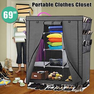 69 Heavy Duty Portable Closet Storage Wardrobe Clothes Rack Shoes