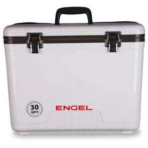 Engel Coolers 30 Quart 48 Can Insulated Mobile Cooler Drybox, White