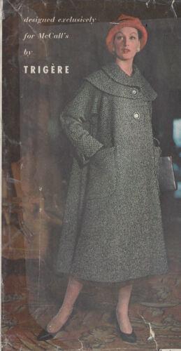"""96 1956 Vintage Abrigo de patrón de costura B36/"""" por /""""trigere/'"""