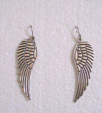 Large Tibetan Silver Angel Wing Pierced Earrings