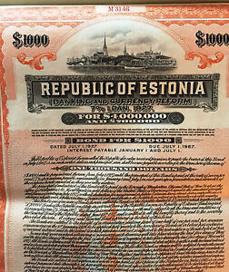 7-Republic-of-Estonia-USD-1000-Bond-to-Bearer-1927-uncancelled-coupons