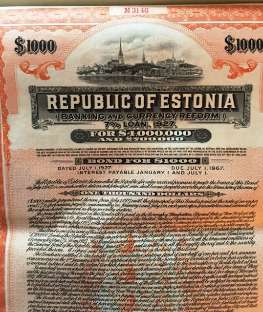 7% Republic of Estonia USD $1000 Bond to Bearer 1927 uncancelled + coupons