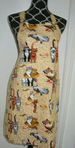 NEW 2 Pocket Handmade Full Length Adult Apron CATS ON THE BEACH
