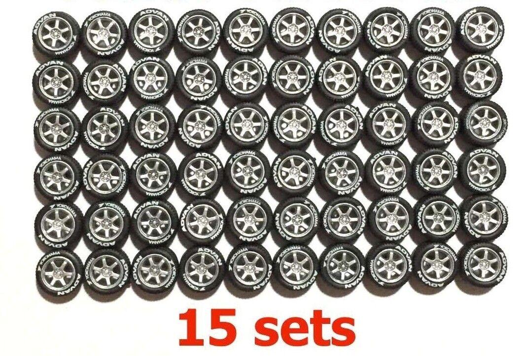 1 64 les pneus en caoutchouc Jantes-TE37 Argent Coupe Kyosho Hot Wheels Diecast - 15 ensembles