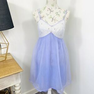 Vintage-60s-Womens-Babydoll-Night-Dress-Lingerie-Lilac-Purple-Nylon-Size-12-AU
