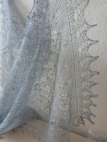 Genuine Russian Orenburg Hand knitted Grey Wool Lace Shawl Scarf SnowFrost Style
