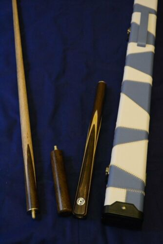 Handcrafted 3//4 piece Ash Snooker//Pool Cue with Leather Cue Case and Mini-Butt