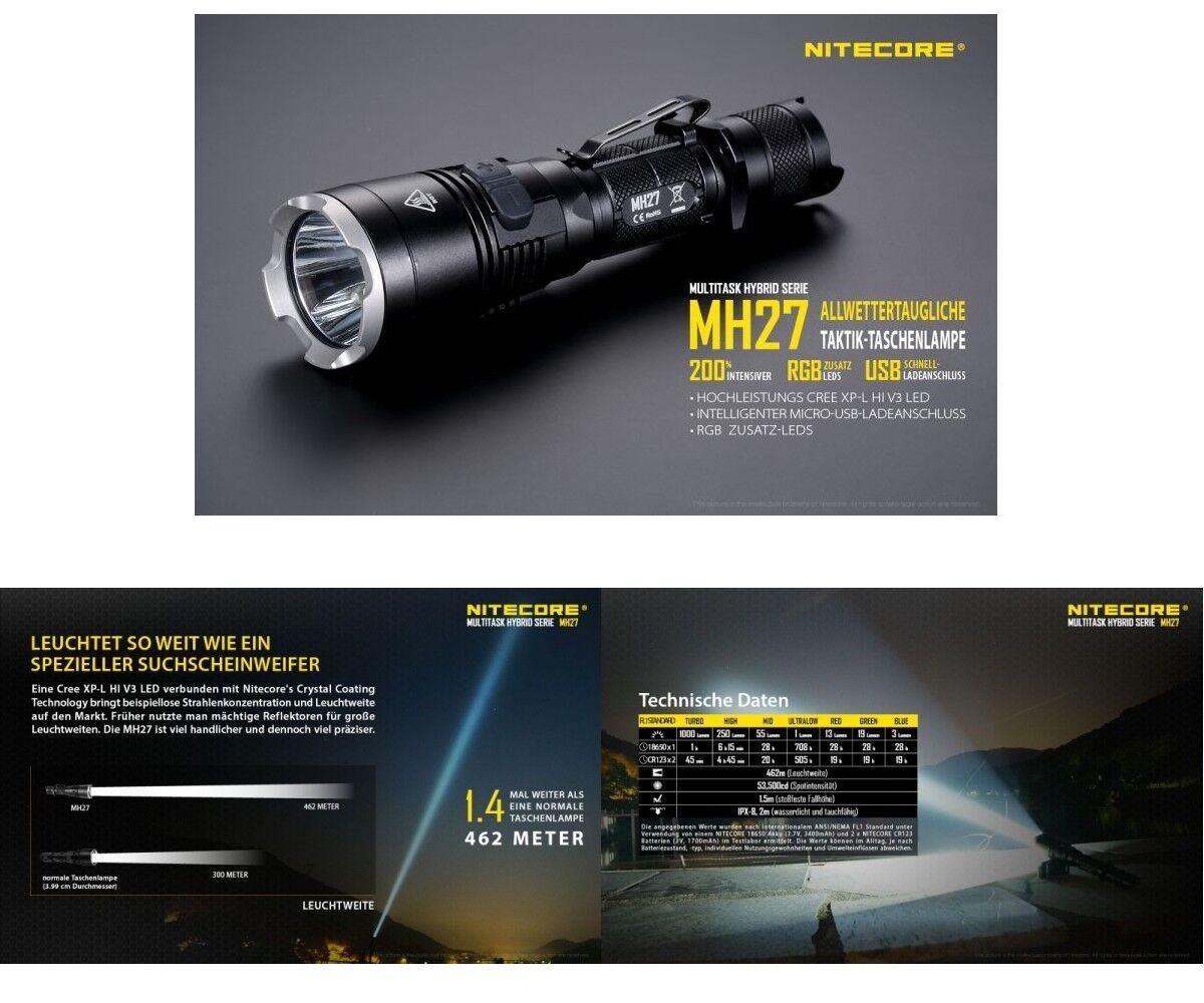 Nitecore LED Taschenlampe MH27 CREE XP-L XP-L XP-L HI V3 - max. 1000 Lumen inkl. Holster 7f975d