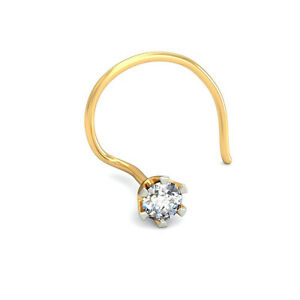 0 15 Ct Solitaire Diamond Nose Ring 18k Solid Gold Nose Piercing