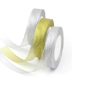 25-Yard-Craft-Jewellery-Sparkle-Glitter-Decoration-Organza-Ribbons-Silk-TapePYW