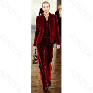 Wine Red Velvet Elegant Pant Suits Costumes For Women Office