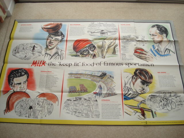 SCARCE C1956 VINTAGE MILK THE 'KEEP FIT' FOOD OF FAMOUS SPORTSMEN POSTER