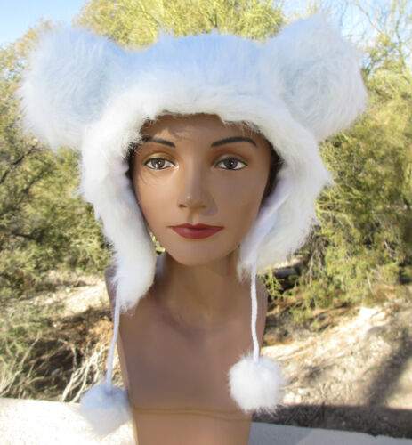 WHITE MOUSE EARS ADULT HAT cap tom animal fuzzy Halloween Costume mousy jerry