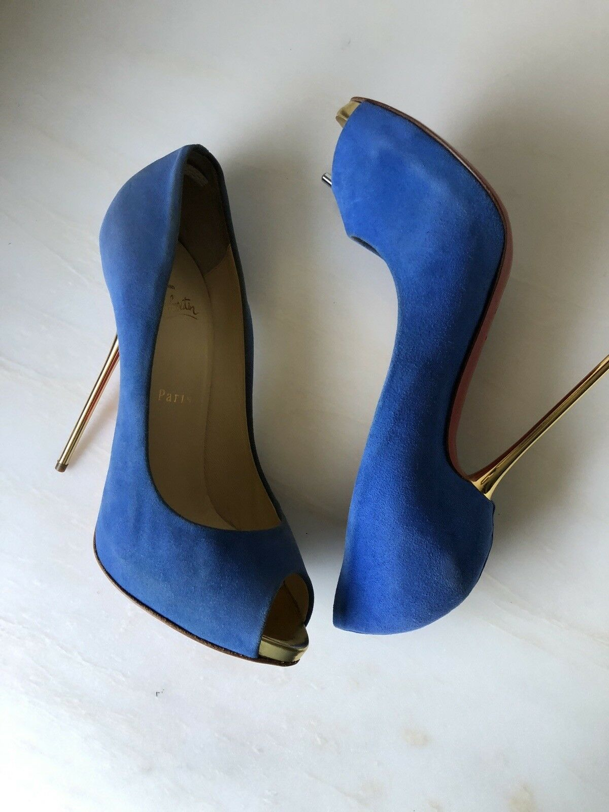 Preowned Christian Louboutin bluee Suede Open Lips 120 Pumps size 38.5
