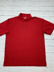 Grand Slam Men's Size Large 100% Polyester Short Sleeves Polo Golf Shirt Red