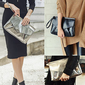 Korea-Stylish-Women-Triangle-Hand-Strap-Clutch-Bag-Pouch-Synthetic-Leather-Purse