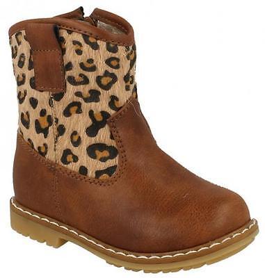 Kleinkinder Mädchen Spot on braun Leopardenmuster niedrig Knöchel Stiefel H4110