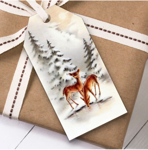 Present Favor Labels Vintage Traditional Deer Christmas Gift Tags