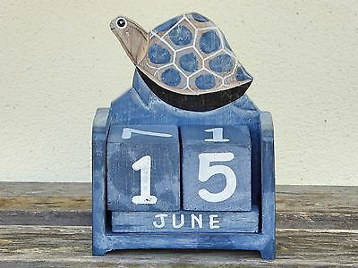 Shabby Chic Blue Turtle Perpetual Calendar Wooden (Hand Carved)