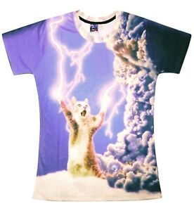 Chat-jouant-avec-un-t-shirt-All-Over-graphique-d-039-impression-3d-FUNNY-CAT-tee