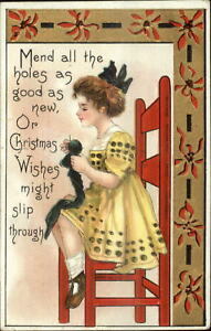 Christmas-Little-Girl-Mending-Her-Stocking-c1910-Postcard-Knitting-Needle