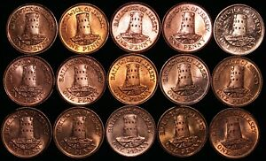 Mix-Of-Jersey-Elizabeth-II-1-Penny-Coins-Bronze-Bulk-Coins-KM-Coins