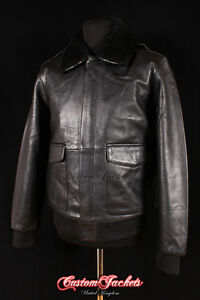 Men/'s A2 US MILITARY Brown Fur Collar Lambskin Leather Army Bomber Pilot Jacket