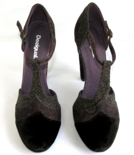 Salome 39 Brown Fabrics Patchwork Shoes nuovi Plum come Desigual vnwzBWW