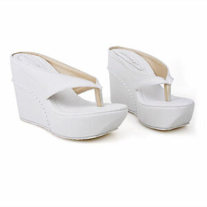 Details about Classic Womens Stylish Thong Platform Wedge High Heels Beach Flip Flops Sandal