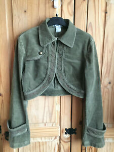 West Womens Olive Green Military Style Embroriled Cord Bolero Crop Jacket 36 8