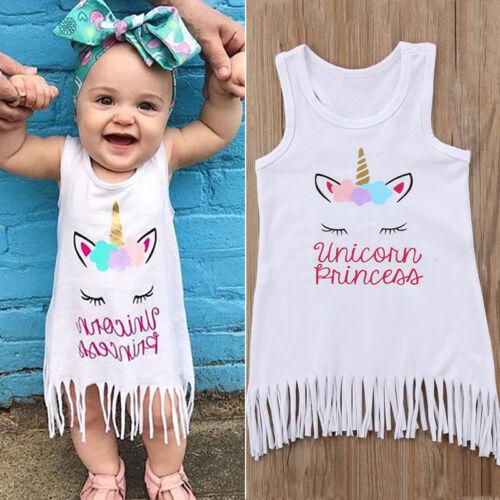 Toddler Kids Baby Girls Tassel Dress Summer Sleeveless Party Tank Top Vest Skirt