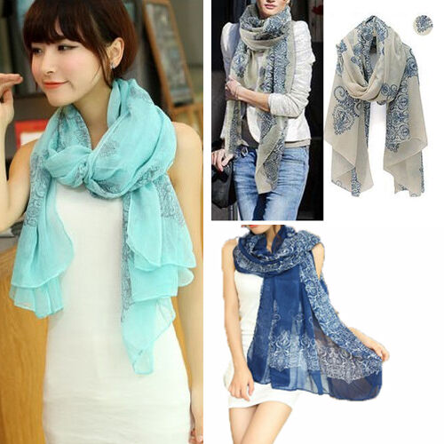 Women's Long Chiffon Light Weight Abstract Floral Scarf Wraps Shawl Soft Scarves