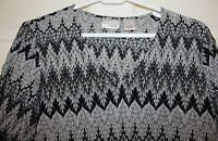 Kim Rogers Signature Belk Womens Large 3/4 Sleeve Top Black Gray Holiday