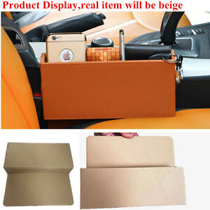 Beige PU Leather Car Vehicle Seat Gap Storage Box Organizer for Phone Card Coin