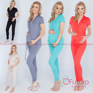 Ladies-Maternity-Jumpsuit-With-Pockets-V-Neck-Wrap-Playsuit-Plus-Sizes-8-18-1080