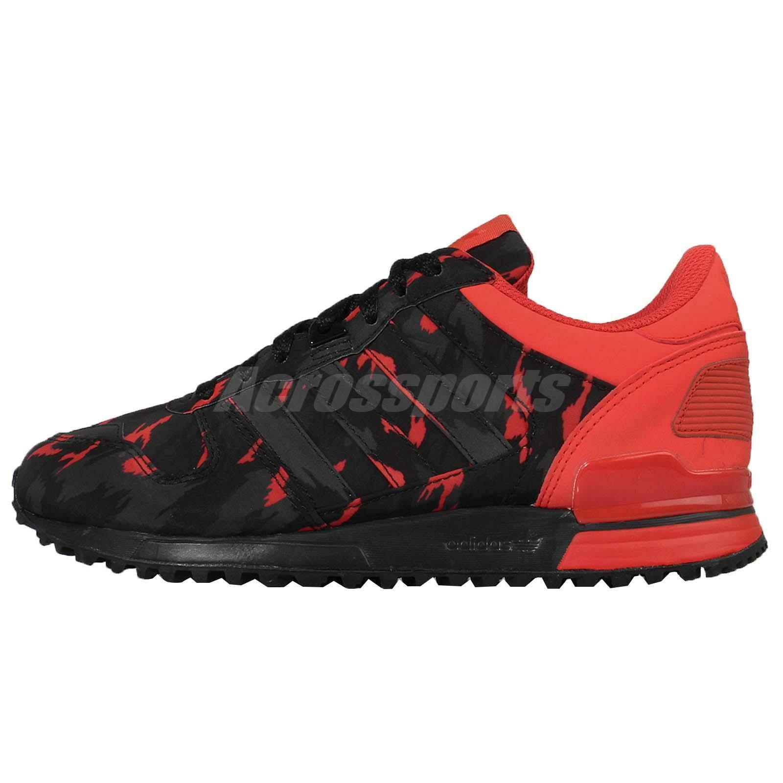 sports shoes 934c4 40235 delicate Adidas Originals ZX 700 Black Red Mens Running Shoes Sneakers  B24837