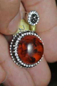 Turkish-Ottoman-4-Ct-Sparkle-Amber-925-Sterling-Silver-Modern-Druzy-Pendant