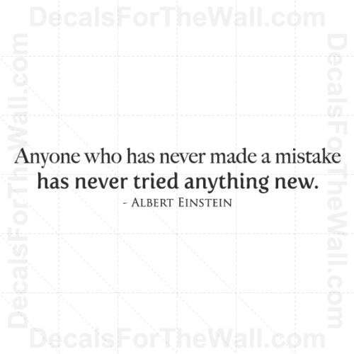 Albert Einstein Anyone Who Has Never Made a Mistake Vinyl Wall Decal Art J61