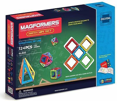 Magformers 63210 124 Pc Math Activity Magnetic Set Magnets w/ 39 Numeric Cards