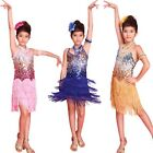 Girl Ballroom Latin Cha Cha Dress Tassels Sequin Kids Children Dance Costume S41