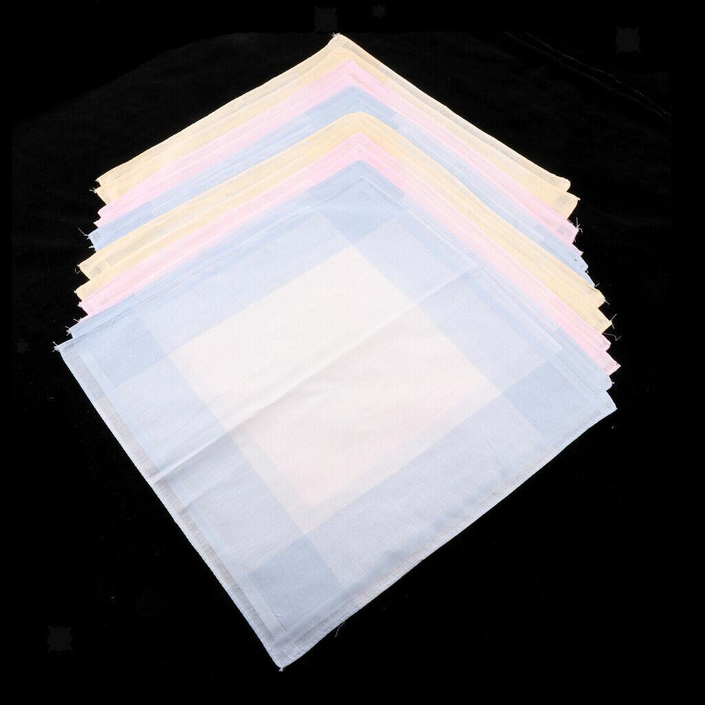 12pcs 100% Cotton Handkerchiefs for Men And Women