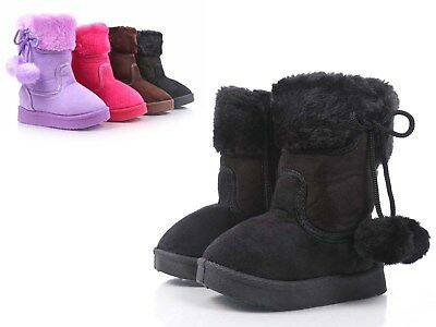 Black Color Side Zipper Pompom Baby Toddlers Kids Girls Faux Fur Booties NO BOX