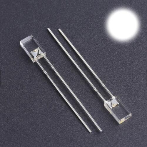 S792-50 Stück LEDs flach rechteckig 2x5mm weiß klar 2x5x7mm