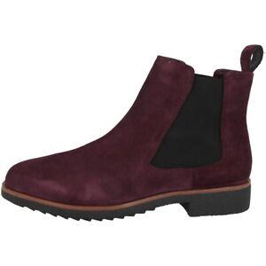 Details zu Clarks Griffin Plaza Schuhe Damen Stiefeletten Chelsea Boots burgundy 26143110