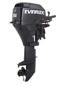 New-Evinrude-15HP-4-Stroke-Outboard-Motor-Tiller-15-034-Shaft-Engine