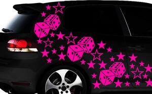 93-PIEZAS-ESTRELLAS-DADOS-CUBE-STAR-coche-pegatina-tuning-Wandtattoo-flores-XX