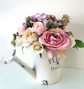 Mothers-Day-Gift-Table-Flowers-Purple-Mauve-Pink-Silk-Roses-in-Watering-Can